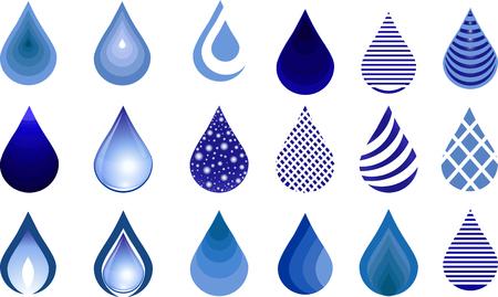 Water drop set, blue drop buttons. Illustration.Water Drop Emblem. Logo Template.