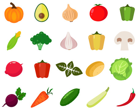 Vegetables icons set. Collection farm product for restaurant menu, market label. 일러스트