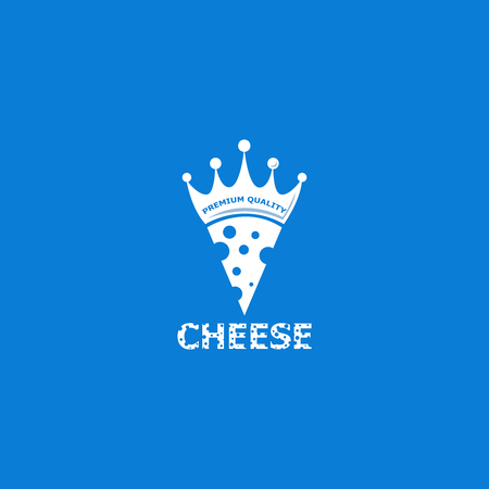 Cheese logo design template. Minimalistic symbol Aromatic cheese. Flat royal curd design isolated on background. Graphic pizzeria concept with milk product, crown