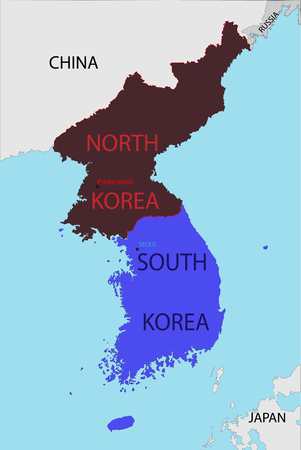 Map of South and North Korea with the borders of neighboring states. With the name of capitals