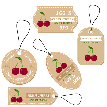 Labels with various fruits,for cherry  and inscriptions. Set templates price tags for shops and markets of organic vegetarian food. Vector illustration Ilustrace