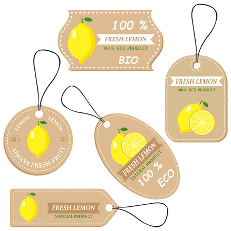 Labels with various fruits,for lemon  and inscriptions. Set templates price tags for shops and markets of organic vegetarian food. Vector illustration Illustration