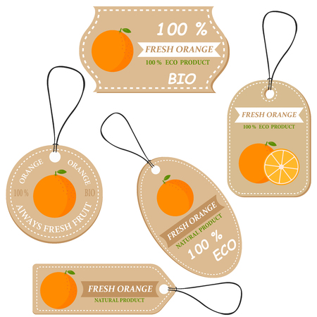 Labels with various fruits,for orange and inscriptions. Set templates price tags for shops and markets of organic vegetarian food. Vector illustration