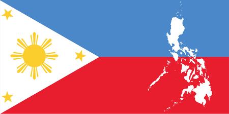 White map Republic of the Philippines and filipino flag illustration Illustration