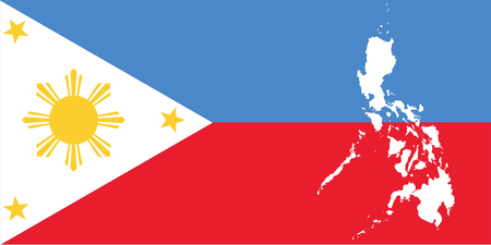 White map Republic of the Philippines and filipino flag illustration  イラスト・ベクター素材