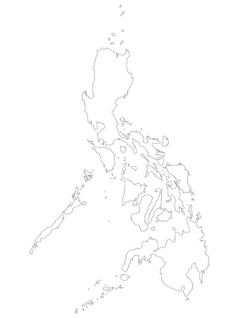 Philippines map of black outline map on white background of illustration. Line map  of the Republic of the Philippines