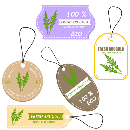 Vegetable tag and farm market veggies price labels set. Fresh arugula sketch card with discount offer text Ilustracja