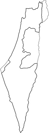 Israel outline map. With the designation of the territory of the Gaza Strip, West Bank and Golan Heights Çizim