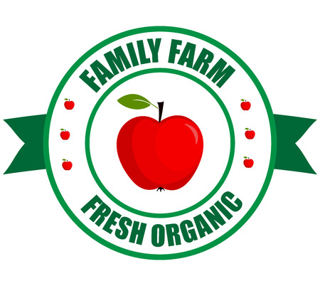 Apple logo. Vector round label strawberry. Fruit and berries from the farm. Organic food. Logo apple in the form of a circle for a restaurant or shop. Logo that can be used for branding