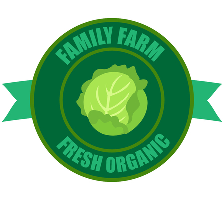 Vector round label cabbage. Fruit and berries from the farm. Organic food. Logo cabbage in the form of a circle for a restaurant or shop. Logo that can be used for branding