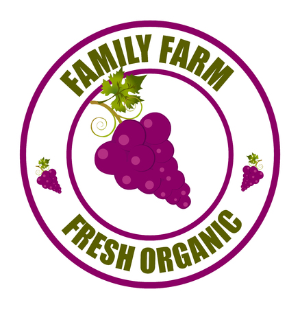 Grape logo. Vector round label grape. Fruit and berries from the farm. Organic food. Logo grape in the form of a circle for a restaurant or shop. Logo that can be used for branding