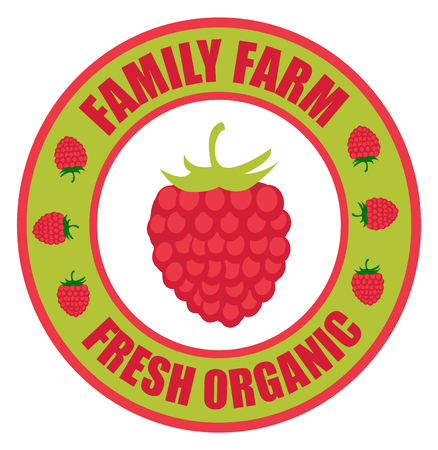 Raspberries logo. Vector round label raspberries. Fruit and berries from the farm. Organic food. Logo raspberries in the form of a circle for a restaurant or shop. Logo that can be used for branding