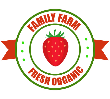 Strawberry logo. Vector round label strawberry. Fruit and berries from the farm. Organic food. Logo strawberry in the form of a circle for a restaurant or shop. Logo that can be used for branding
