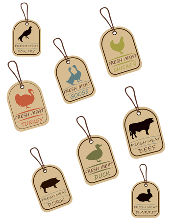 String tags, meat labels. Label with illustration of chicken, duck, pork, rabbit, turkey, beef, goose and poultry. Price list for meat. Meat tag with meat image. Logo that can be used for branding Çizim