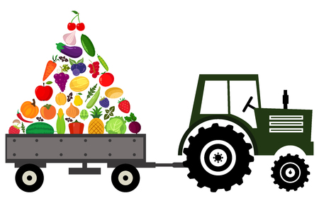Tractor with fruits and vegetables