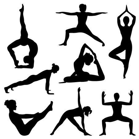 Silhouettes of girl practicing yoga. Shapes of woman doing yoga fitness workout. Set of yoga positions.