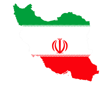 Map of Iran and Iranian flag illustration