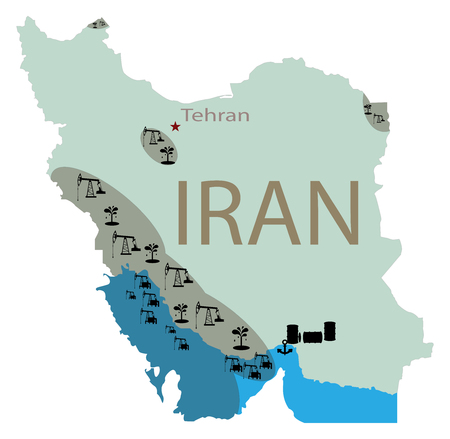 Reservoirs of oil in Iran. Iran map with deposits of oil. Subsurface reservoirs of petroleum