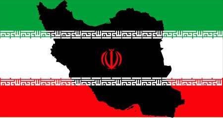 Islamic Republic of Iran with flag inside map