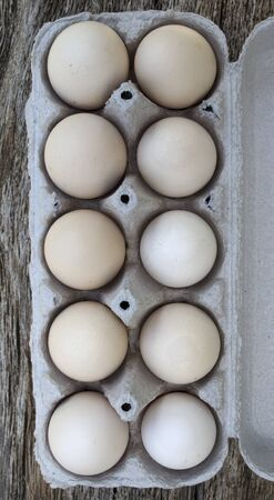 Light brown and speckled chicken eggs in a tray ten pieces Stok Fotoğraf