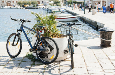 Two bicycles parked in flowerbeds in a European city, near the sea, summer and sunny weather, beautiful light