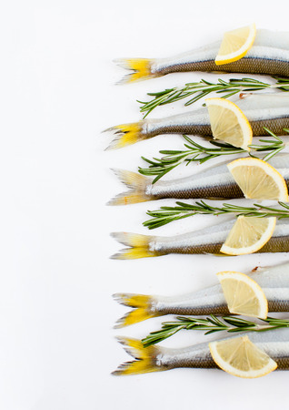 saltwater fish smelt marinated with rosemary and lemon on a white background, cooking, daylight, vertical shot