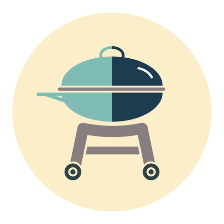 BBQ icon on a round color background. Vector illustration