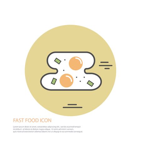 Vector icon style illustration of fast food, fried egg on colored round pattern Illustration