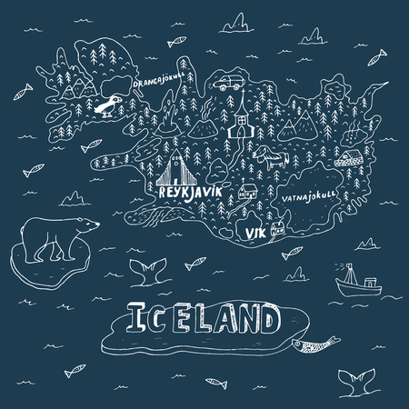 Iceland hand drawn cartoon map. Vector illustration with travel landmarks, animals and natural phenomena
