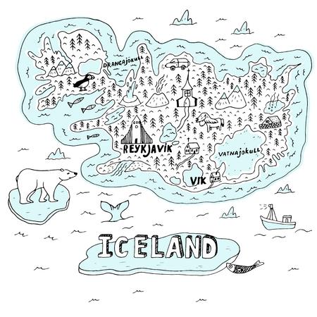 IJsland hand getekende cartoon kaart. Vectorillustratie met reisoriëntatiepunten, dieren en natuurlijke fenomenen