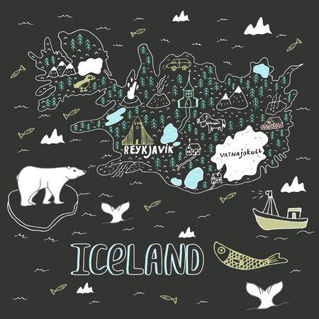 Iceland hand drawn cartoon map. Vector illustration with travel landmarks, animals and natural phenomena