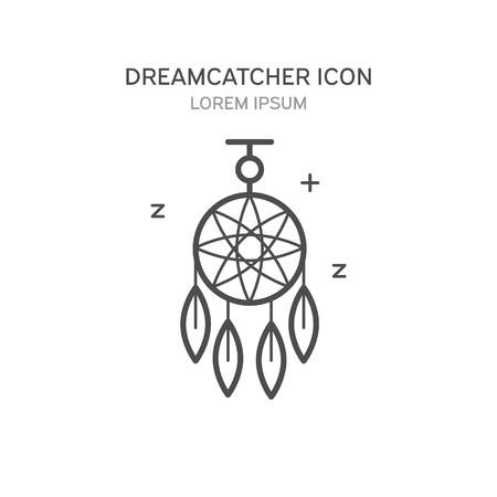 ancient civilization: Dreamcatcher line style icon isolated vector illustration.