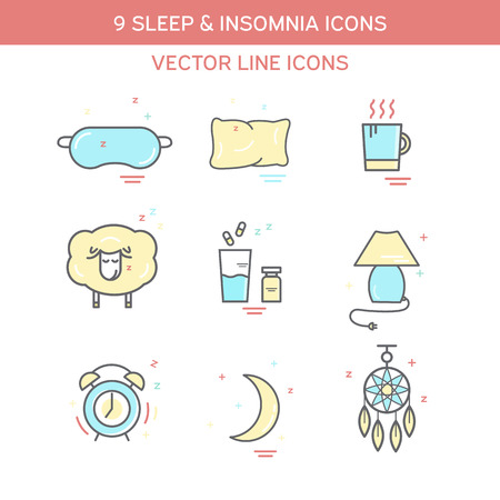 woman lying in bed: Sleep problems and insomnia symbols. Color icon set in line style.