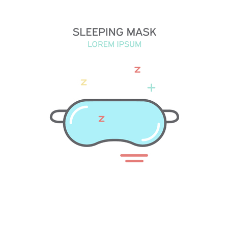 snoring: Sleeping mask color line style icon. Isolated vector illustration.
