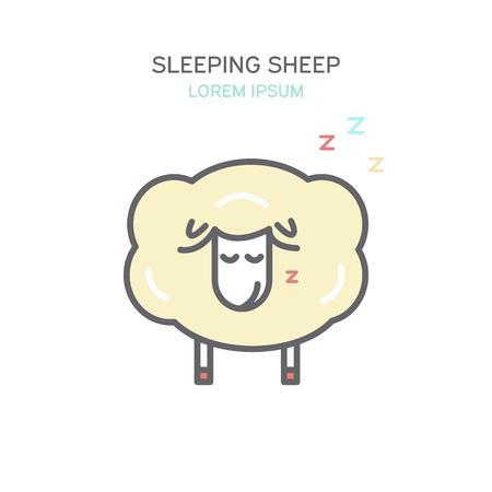 Slapende schapen kleur lijn stijlicoon. Geïsoleerde vectorillustratie