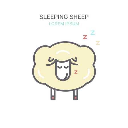 Sleeping sheep color line style icon. Isolated vector illustration