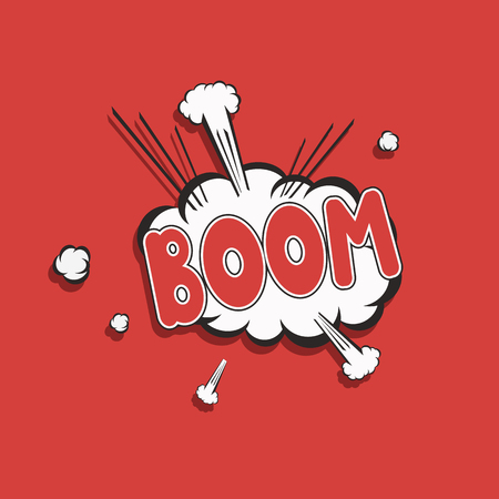 Boom pop art icon on a red background Illustration