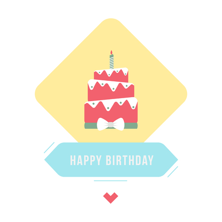 happybirthday: Birthday cake illustration with type. Holiday card.