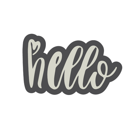 90s: Hand drawn hello word isolated vector illustration in patch style.