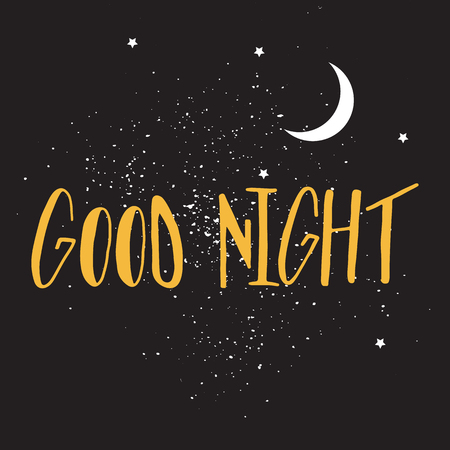 Good night hand drawn lettering illustration with dark sky, stars and moon