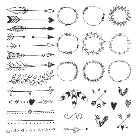 Collection of hand drawn wedding design elements, arrows, circles boders hearts and feathers