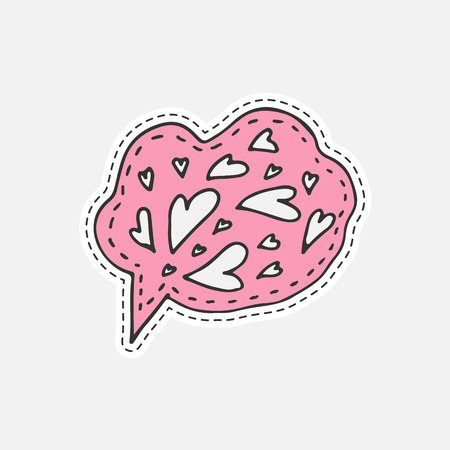 Isolated vector illustration in patch style. Speaking cloud hand drawn sticker with hearts Illustration
