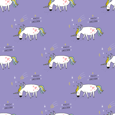 rainbow sky: Cute hand drawn cartoon seamless pattern with unicorns. Vector background.