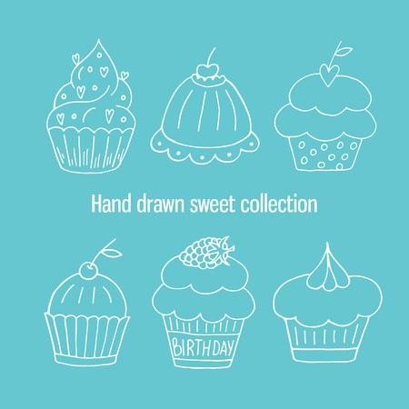 Hand drawn isolated birthday cake. Cute sweet vector bakery set Illustration