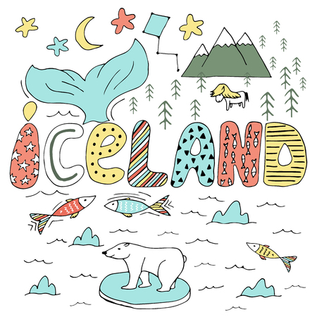 Cute colorful Iceland hand drawn cartoon map. Vector illustration with travel landmarks, animals and natural phenomena.