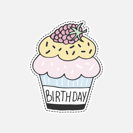 cupcakes isolated: Sweet hand drawn cupcake - 80s-90s style design. Isolated vector illustration in patch style. Great for stickers, embroidery, badges. Illustration