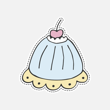 Sweet hand drawn cupcake - 80s-90s style design. Isolated vector illustration in patch style. Great for stickers, embroidery, badges. Illustration