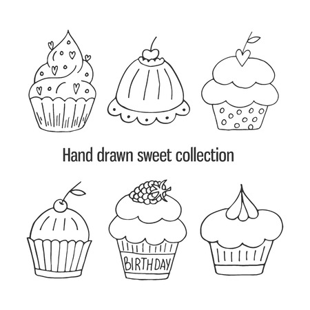 Hand drawn isolated birthday cake. Cute sweet vector bakery set Stock Vector - 81180214