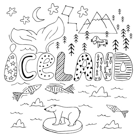 IJsland hand getekende cartoon kaart. Leuke vectorillustratie met reisoriëntatiepunten, dieren en natuurlijke fenomenen met handdrawn effect