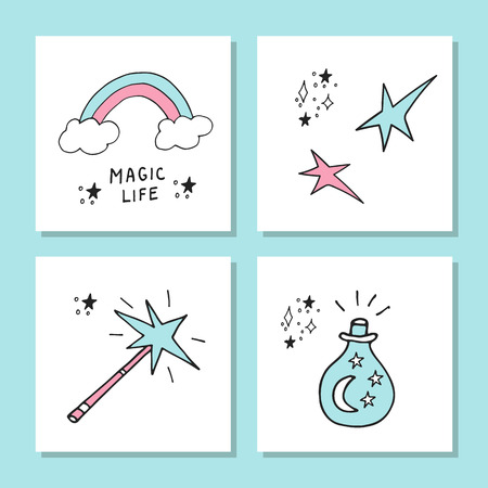 Cute magic cards. Cartoon collection of handdrawn magic elements isolated on white. Vector illustration with hand drawn lettering Illustration